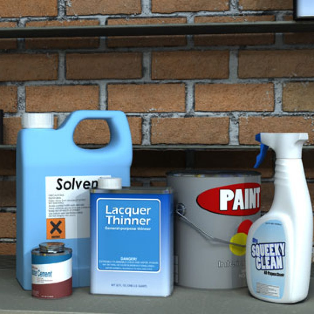 flammable materials such as bleach and paint