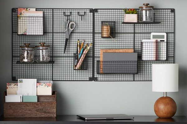 office items on a black mount shelve