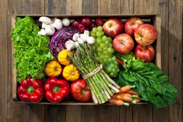 fruits and vegetables in an open box