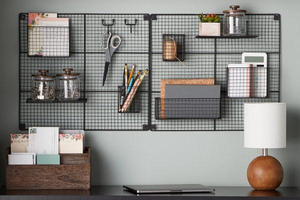 office items on a black mount shelve