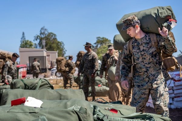 Marines packing up their luggage
